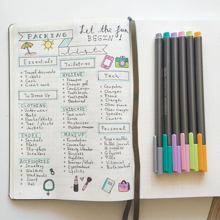 Packing list for your bullet journal. I have a great, extensive list, on my Google Drive, I just don't know if I want to add it on my journal...
