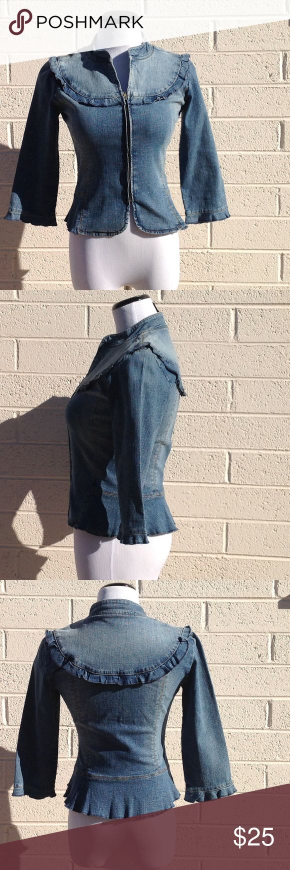 BCBG MaxAzria Jean Zip Up Jacket size 2 Jean zip up jacket by BCBG MaxAzria Jeans in size two. Adorable ruffle details and flattering cut. 93% cotton. No rips, tears, or stains. Great feminine take on a classic wardrobe piece. Perfect for fall or spring! BCBGMaxAzria Jackets & Coats Jean Jackets