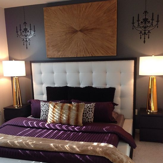 Our century table lamps and golden voyage painting add Purple and gold bedrooms