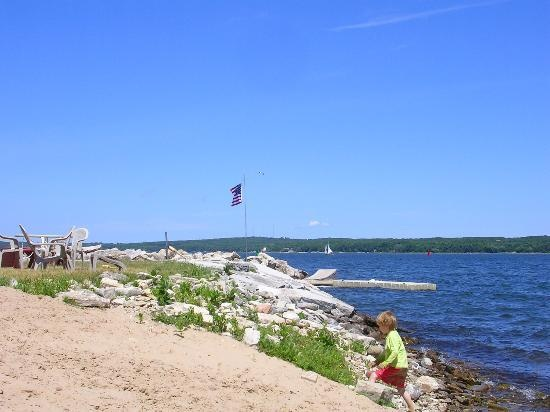 The shoreline of Sturgeon Bay in WI, on the lakefront of Lake Michigan