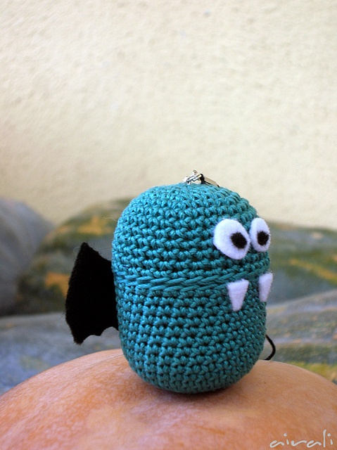 Amigurumi bat with kinder egg by airali_gray