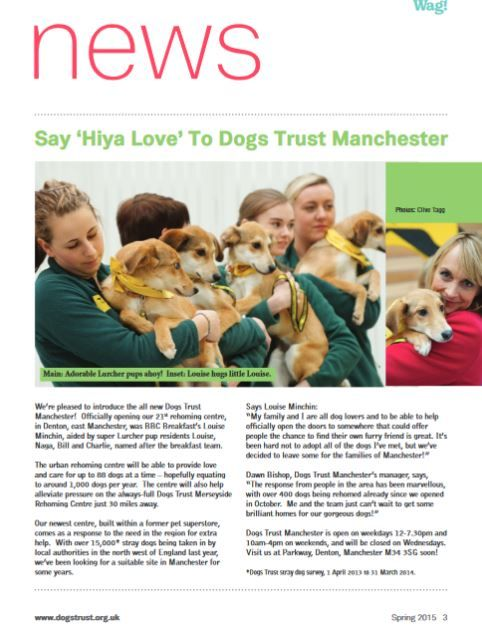 2015 Spring Dogs Trust Supporter Magazine  Say 'Hiya Love' To Dogs Trust Manchester – page 3  We're pleased to introduce the all new Dogs Trust Manchester!  Officially opening our 21st rehoming centre, in Denton, east Manchester, was BBC Breakfast's Louise Minchin, aided by super Lurcher pup residents Louise, Naga, Bill and Charlie, named after the breakfast team!