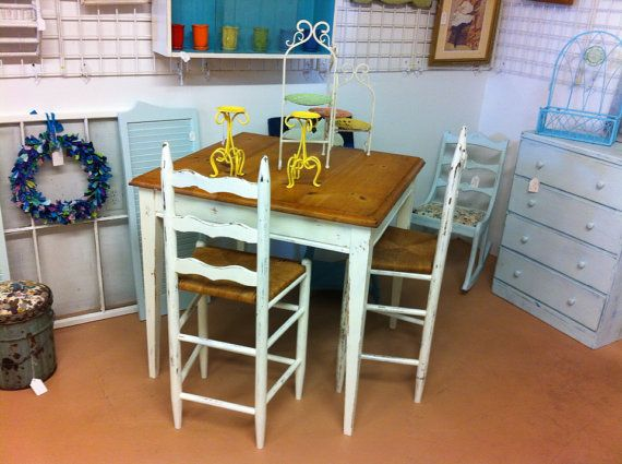 Shabby Chic Pub Table And Barstools
