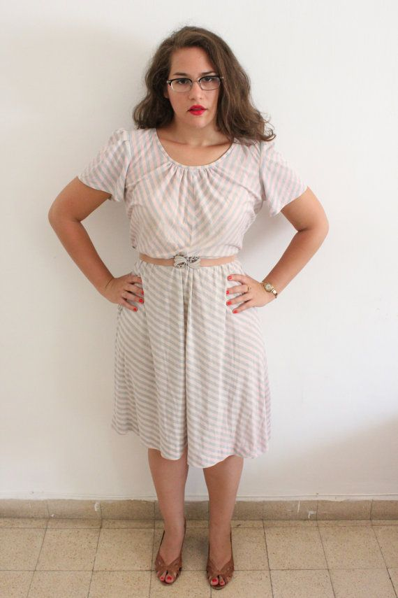 Vintage Pale Pink and Grey Cotton Chevron by ClementinesBoutique, $18.00