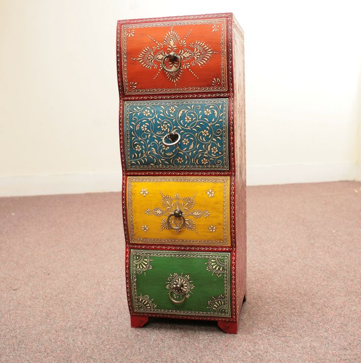 Hand painted drawer unit jugs indian furniture and for Furniture hove
