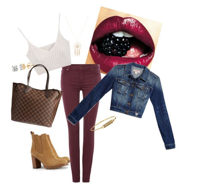 """""""Dark cherry city look"""" by sabrina-sultzer on Polyvore featuring 7 For All Mankind, Tory Burch, GUESS, Louis Vuitton, Rebecca Minkoff and Anarchy Street"""