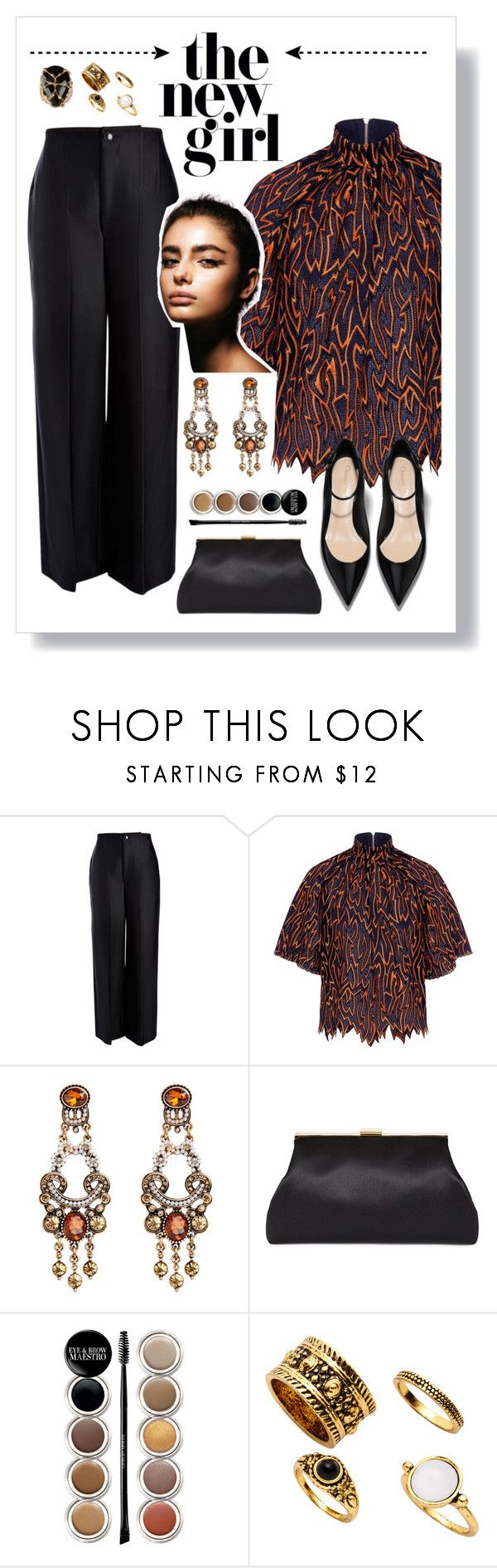 """""""The new girl"""" by yessyzc ❤ liked on Polyvore featuring Joseph, Karen Walker, Giorgio Armani and Rosantica"""