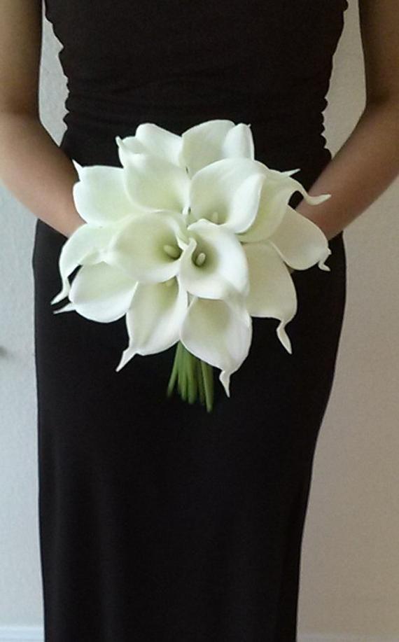 White Calla Lily Wedding Bouquet Bridesmaid Bouquet Silk Flower