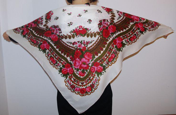 Big Vintage White Polish Shawl fringes Russian Shawl Ukrainian shawl Floral square headscarf Roses Flowers folk neckerchief weeding shawl by VintagePolkaShop on Etsy