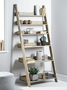 Rustic Wooden Ladder Shelf - Wide