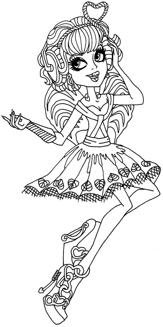 a coloring page of ca cupid without her stand from monster high ca cupid