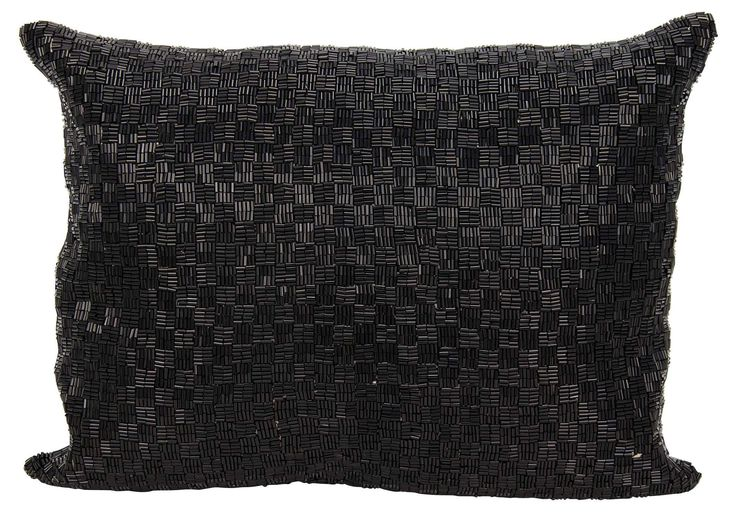 Pillows Mina Victory Couture Luster Woven Luster Black Throw Pillow