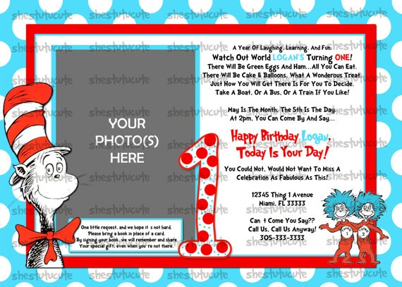 Cat In The Hat Inspired Birthday Invitation