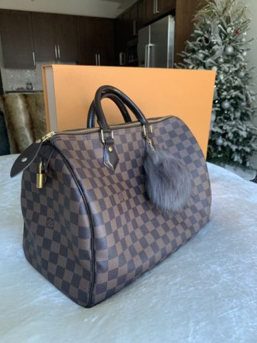 20d27a1da46 Details about Authentic Louis Vuitton LV Speedy 35 Damier Ebene Bag ...