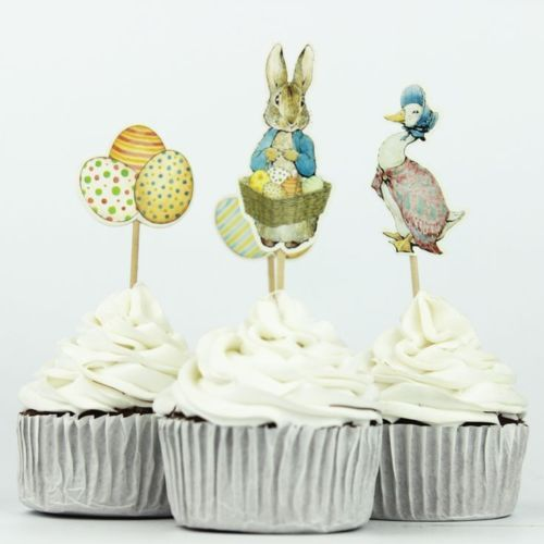 1-5-10-15-20-Easter-Peter-Rabbit-Jemima-Puddle-Duck-Eggs-Cupcake-Topper-Picks