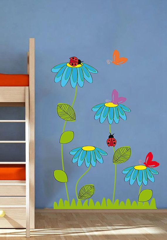 Ladybug Butterfly Flowers Nature Nursery Kids Full by uBerDecals