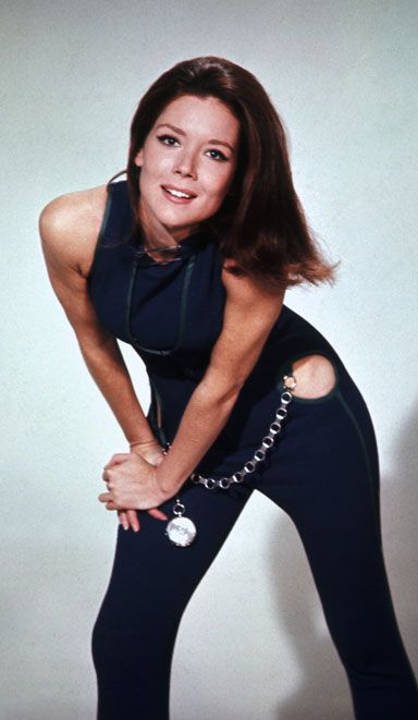 Diana Rigg as Mrs. Peel. Worn this outfit, sitting on a stone she was sculpting