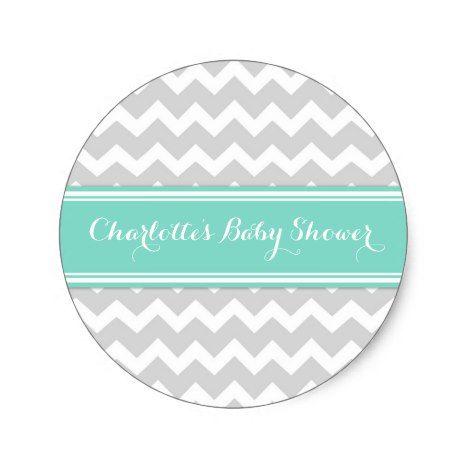 Grey Aqua Chevron Baby Shower Favor Stickers #chevron #craft #supplies