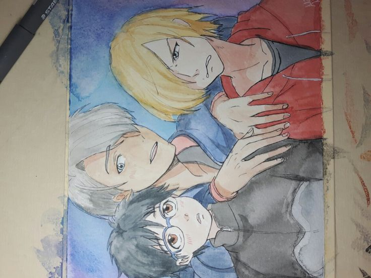 Yuri on ice draw with watercolor