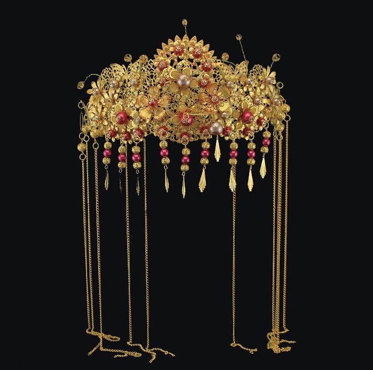 Винтажный золото макраме цепь жемчуг свадьба свадебный головной убор ювелирные изделия свадебные чонсам гребни для волос волос ювелирные изделия аксессуары