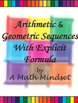 Arithmetic & Geometric Sequences with Explicit Formula Block Puzzle that contains 12 questions and answers along with 6 false ones. There are four different versions with increasing difficulty in order to tailor to the student. A block puzzle that is meant to be cut and reassembled by the student either