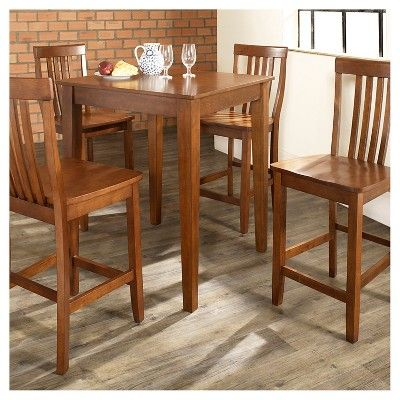 5 Piece Pub Dining Set with Tapered Leg and School House Stools - Classic Cherry (Red) Finish - Crosley