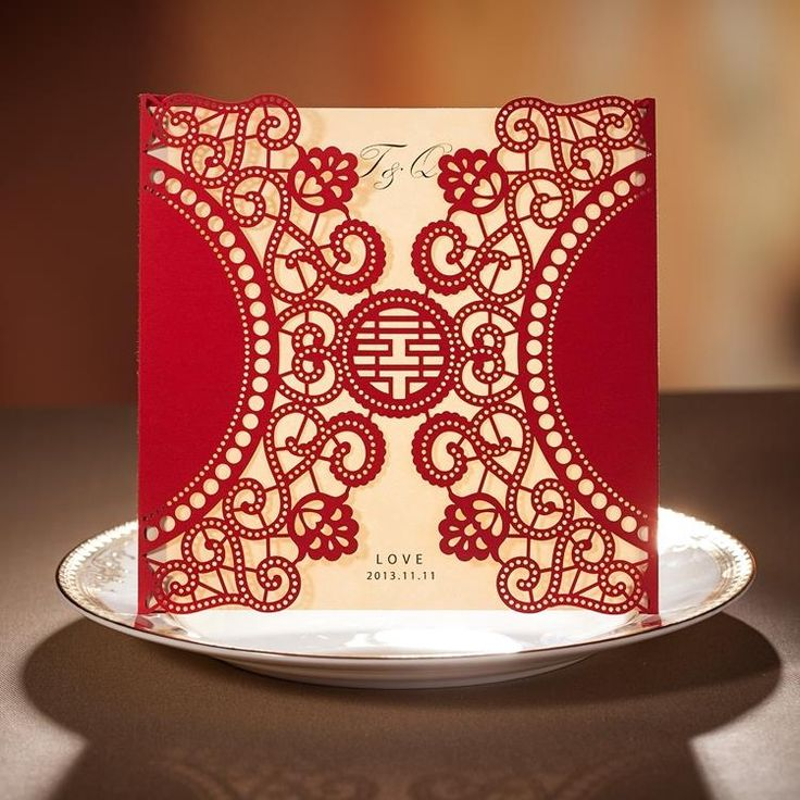 fast shipping wedding invitations%0A Chinese New Year Card Red Laser Cut Free Personalized  u     Customized Printing Wedding  Invitations Cards