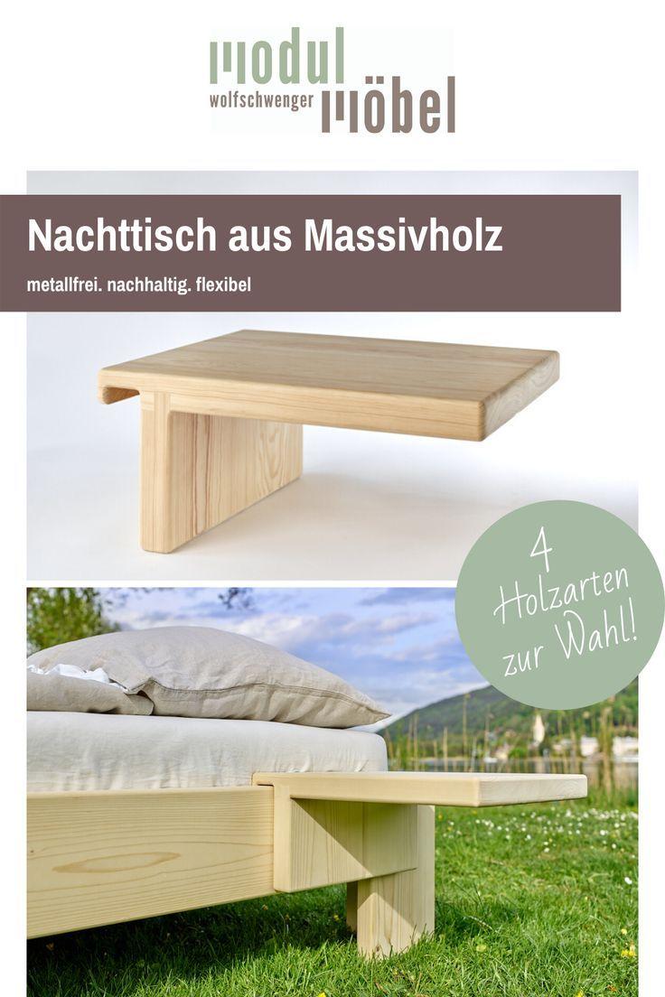 Nachttisch Aus Massivholz In 2020 Nachttisch Bett Holz Massivholzbett