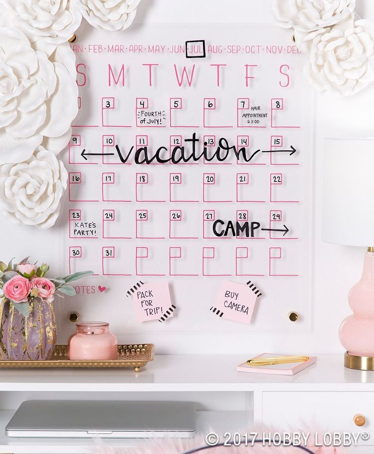 Staying stylishly organized is easy with this acrylic wall calendar! Pair it with more pops of pink for a whimsical workspace.