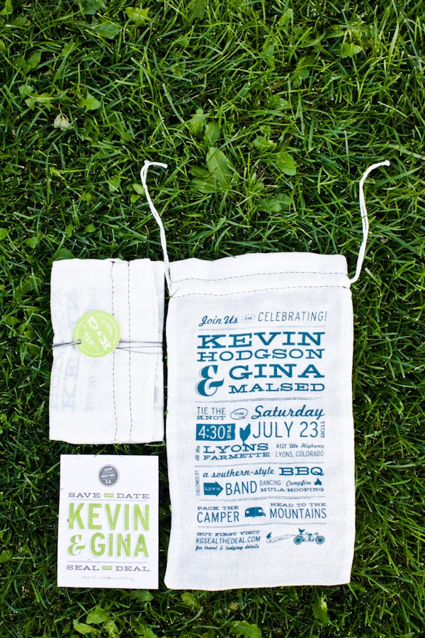 Muslin bag save the date for wedding