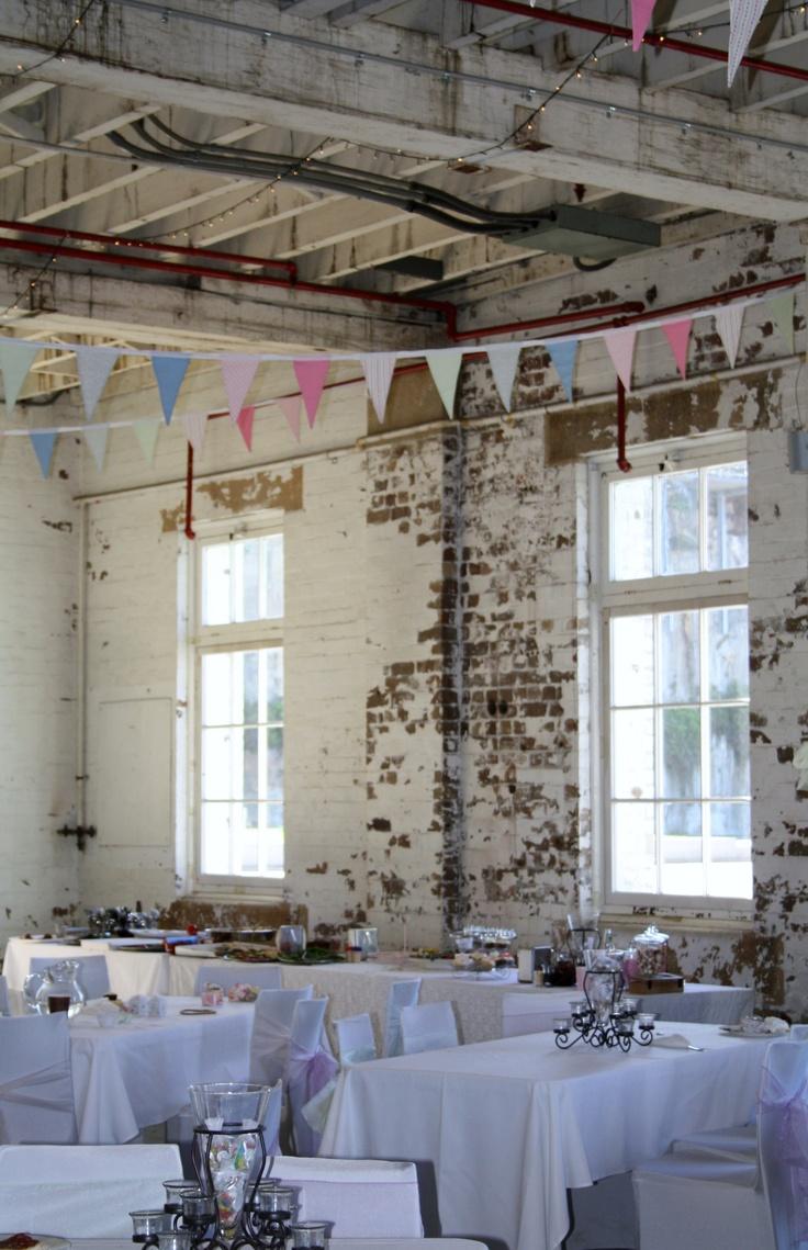 Wedding Reception with my Handmade Vintage Bunting, Cockatoo Island, 2013