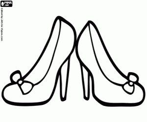 Schoenen met hoge hakken. Hakken kleurplaat