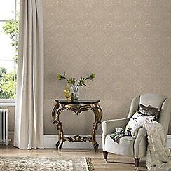 Graham & Brown - Gold & Beige Jacquard Wallpaper