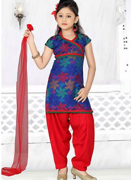 Red Art Silk Readymade Salwar Kameez The incredible attire creates a dramatic canvas with unbelievable Without Work.