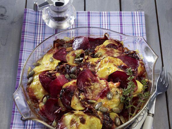Rote Bete-Kartoffel-Gratin Rezept