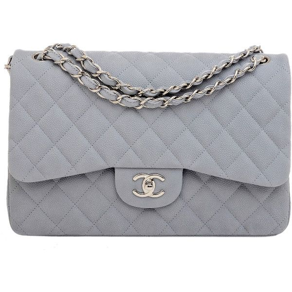 Pre-Owned Chanel Pastel Blue Quilted Caviar Leather Jumbo Classic 2.55... found on Polyvore