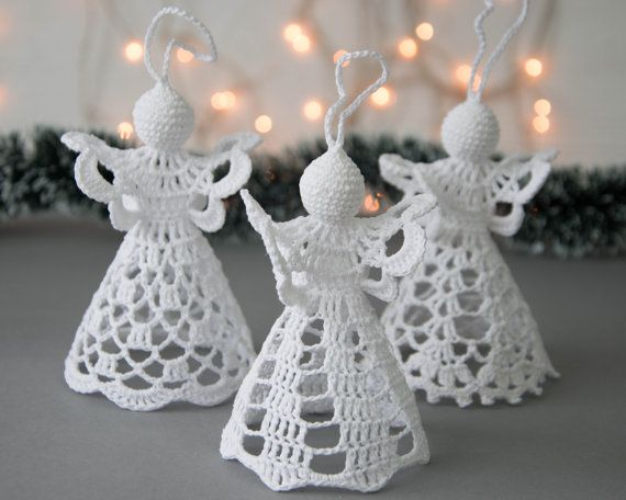 Ángel blanco de ganchillo Set de 3 Crochet por SevisMagicalStitches