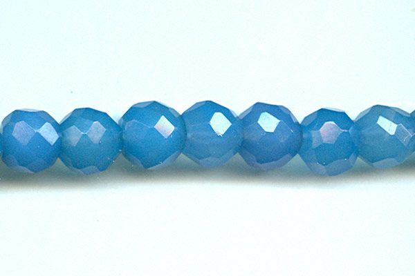 Chalcedony Blue Beads 9mm Round Faceted