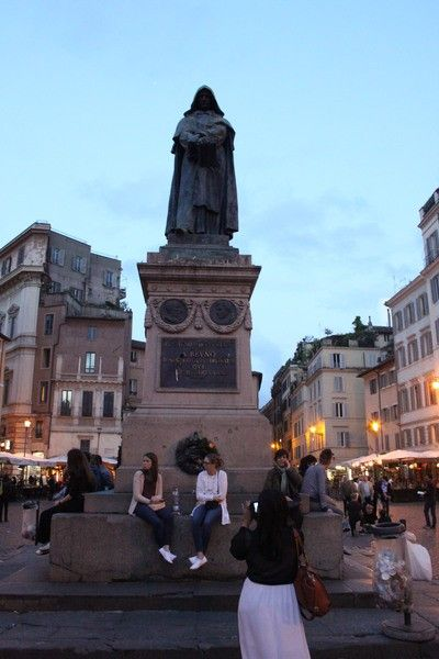 Giordano Bruno, burned at the stake in Campo dei Fiori, Rome, for asserting that the universe was infinite. Memorial put up right after unification and installation of a secular state.