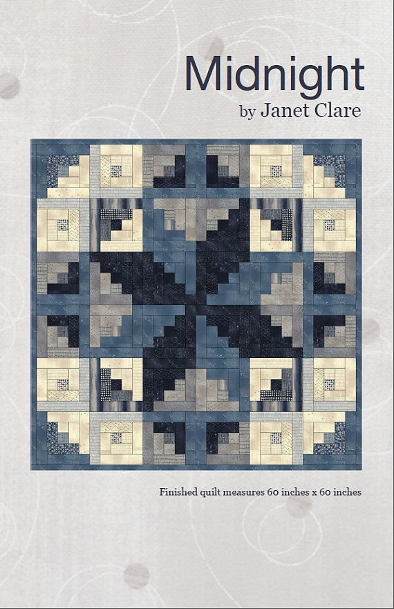 Midnight is a striking yet simple quilt pattern, constructed using machine piecing. The paper pattern includes a detailed cutting list and full colour