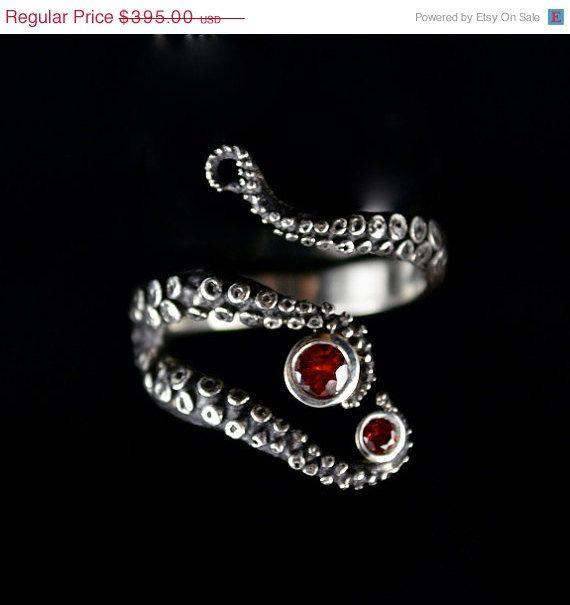 SUMMER SALE Wicked Sapphire Tentacle Ring Engagement by OctopusMe, $351.55