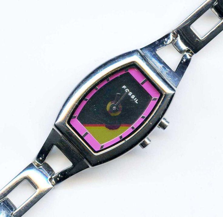 Fossil Big Tic ES-9567 Ladies Pink Butterfly Wrist Watch Quartz Silver Tone RUNS #Fossil #Casual