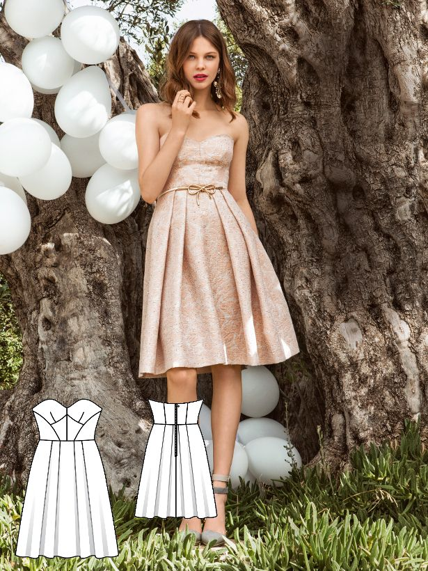 A fine example of a bridesmaid dress sewn in a shimmering jacquard. The bustier shapes a narrow bodice and the waist is beautifully drawn in despite the cascading skirt. This look is also great for graduation parties, birthday celebrations and any other reason to party.