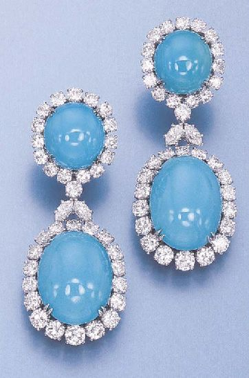 PAIR OF DIAMOND AND TURQUOISE EAR PENDANTS, BY HARRY WINSTON Each set with a detachable oval cabochon turquoise in a circular-cut diamond surround to the top of similar design, in a Harry Winston black suede case Signed HW for Harry Winston, no 5790