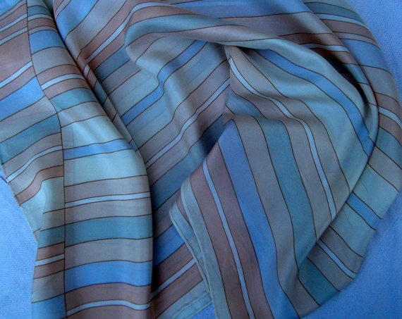 Oblong candy colors stripped silk vintage scarf by CHEZELVIRE, $10.00