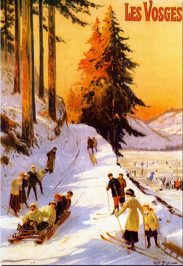 les vosges  vintage ski poster, giclee print unframed or framed from museum outlets, made in usa