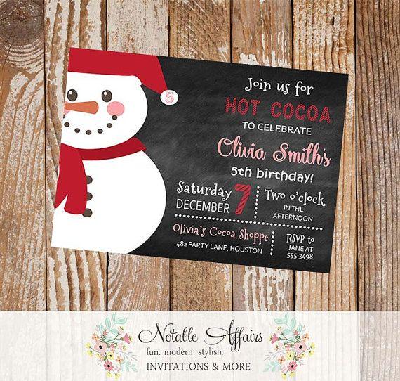Chalkboard Hot Cocoa Snowman Birthday Party Invitation