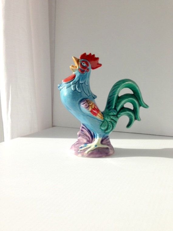 Chicken And Rooster Decor Part - 24: Colorful Rooster Figurine Rooster Decor Farm By EncoreVintageDecor, $20.00