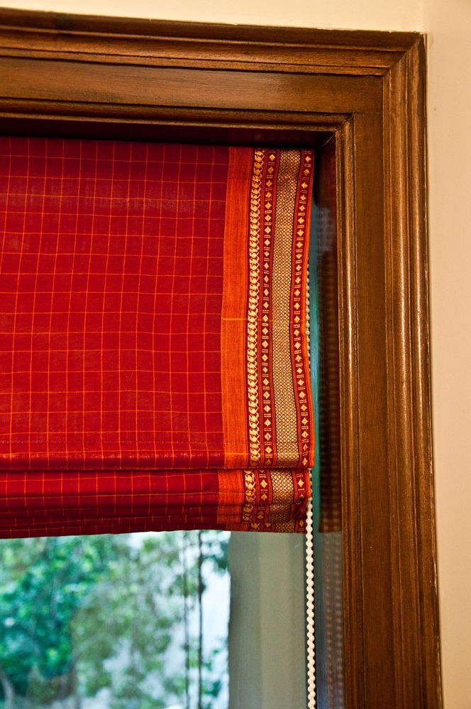 Red sari roman blind, dash of spice to your colour scheme.