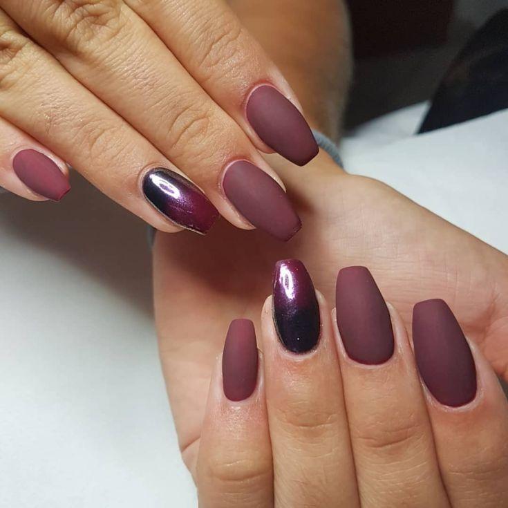 Matte burgundy nails Art Ideas 44 | Burgundy nail art ...